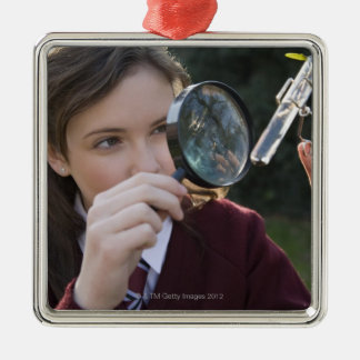 Biology student studying plant christmas ornament