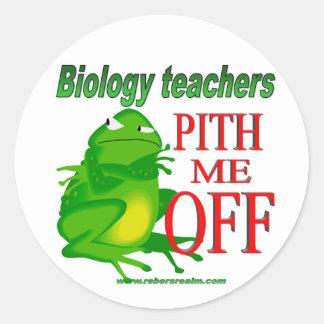 Biology teachers pith me off round sticker