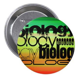 Biology; Vibrant Green, Orange, & Yellow 7.5 Cm Round Badge
