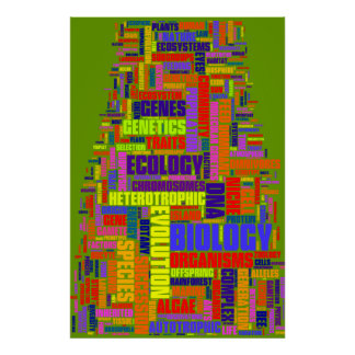 Biology Wordle No. 1 Vibrant Green Poster