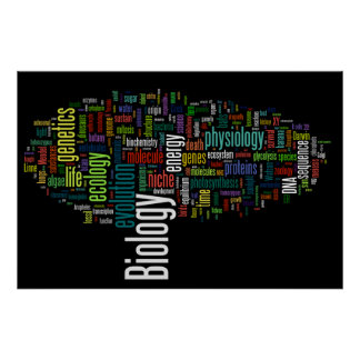 Biology Wordle No. 5 Black Poster