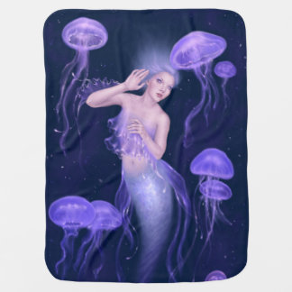 Bioluminescence Jellyfish Mermaid Baby Blanket