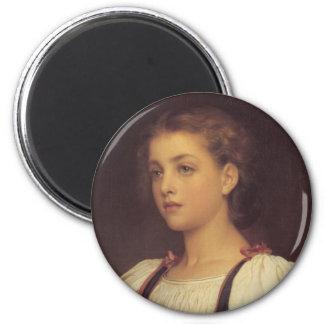Biondina - Lord Frederick Leighton 6 Cm Round Magnet