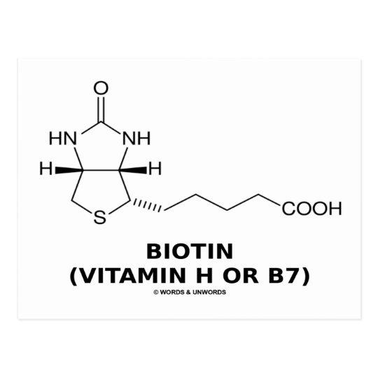 Biotin (Vitamin H Or B7) Chemical Molecule Postcard