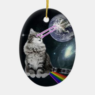 Bioworld Laser Eyes Space Cat Ceramic Oval Decoration