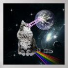 Bioworld Laser Eyes Space Cat Poster