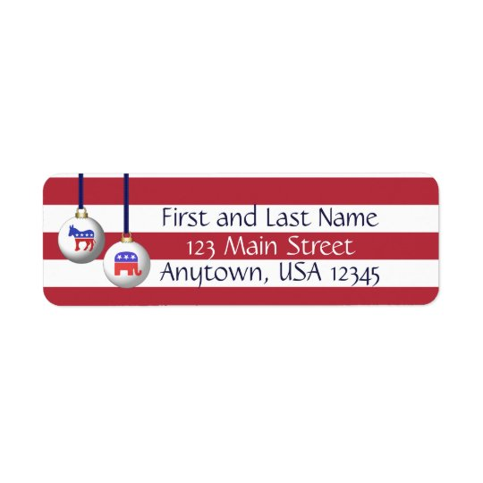 Bipartisan Red White and Blue Patriotic Christmas Return Address Label