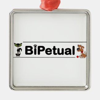 Bipetual funny for dog and cat owners Silver-Colored square decoration