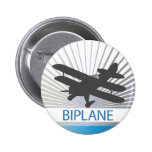 Biplane Aeroplane 6 Cm Round Badge