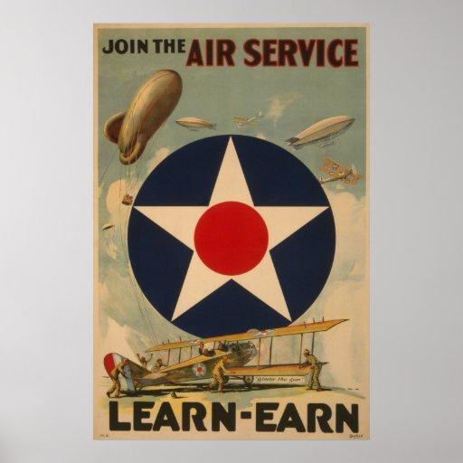 Biplane Aeroplane Blimp Air Service WWI Poster