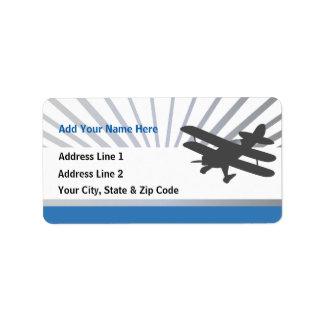 Biplane Airplane Address Label