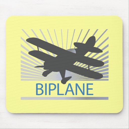 Biplane Airplane Mouse Pad