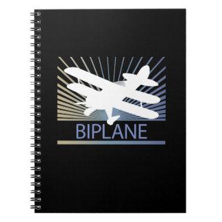 Biplane Airplane Spiral Note Book