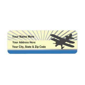 Biplane Airplane Return Address Label