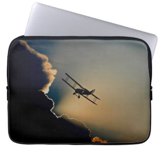 Biplane and sunset laptop sleeve
