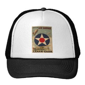 Biplane Blimp Airship Airplane Vintage Art Trucker Hats