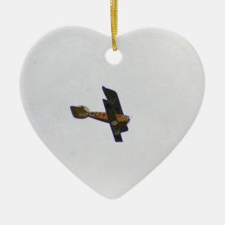 Biplane In Werner Voss Livery Ceramic Heart Decoration