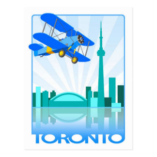 Biplane Over Toronto Retro Design Postcard