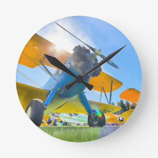 Biplane Sunshine Round Clock