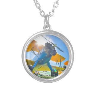 Biplane Sunshine Round Pendant Necklace