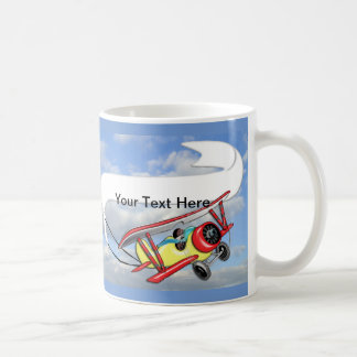 Biplane Towing Banner Customize Coffee Mug