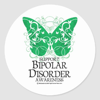 Bipolar Disorder Butterfly Classic Round Sticker