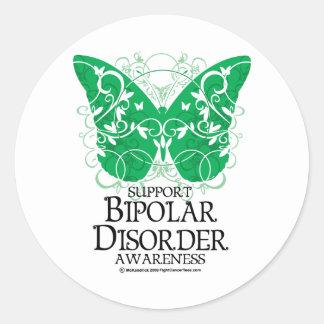Bipolar Disorder Butterfly Round Sticker