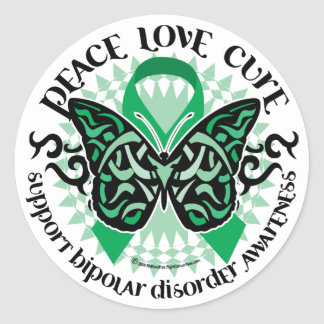 Bipolar Disorder Butterfly Tribal 2 Round Sticker