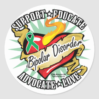 Bipolar Disorder Classic Heart Classic Round Sticker