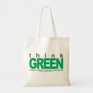 Bipolar Disorder THINK Green Canvas Bags