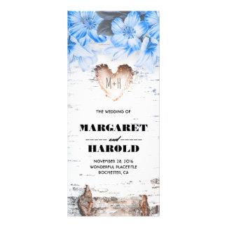 Birch Bark Heart Rustic Country Wedding Programs Rack Card Design