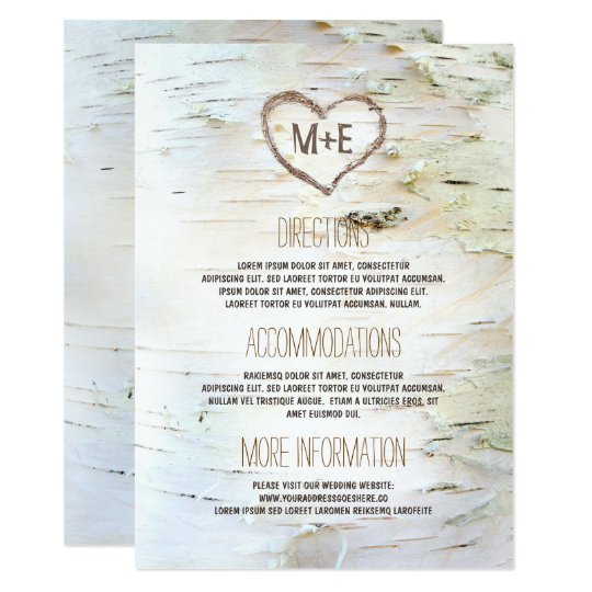 Birch Bark Heart Rustic Wedding Information Card
