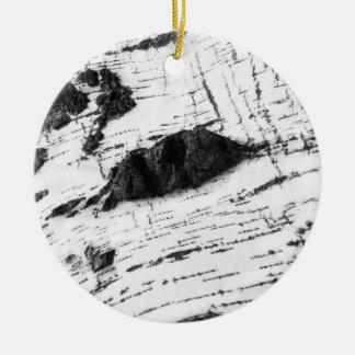 Birch bark pattern round ceramic decoration