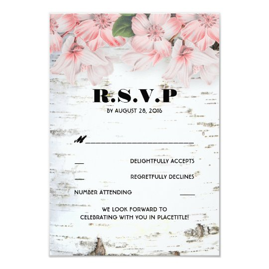 Birch Bark Rustic Country Wedding RSVP Cards