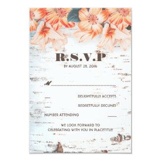 Birch Bark Rustic Country Wedding RSVP Cards 9 Cm X 13 Cm Invitation Card