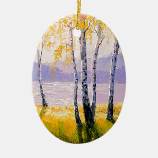 Birch by the river christmas ornament