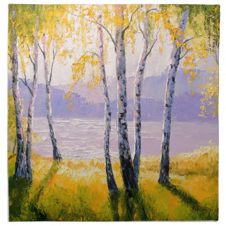 Birch by the river napkin