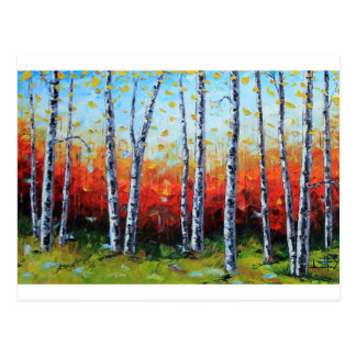Birch Dream, Palette Knife Painting in oil Postcard