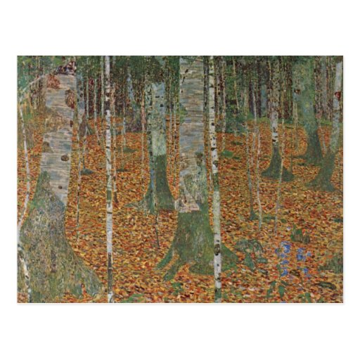 Birch Forest by Gustav Klimt, Vintage Art Nouveau Postcards