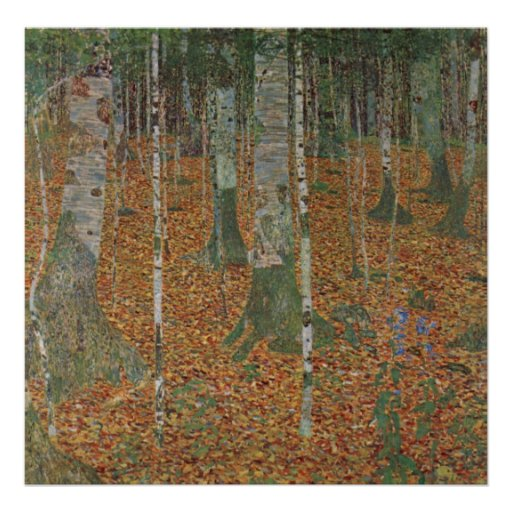 Birch Forest by Gustav Klimt, Vintage Art Nouveau Print