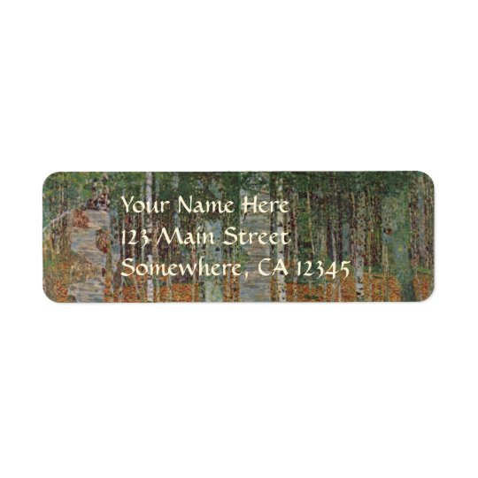 Birch Forest by Gustav Klimt, Vintage Art Nouveau Return Address Label