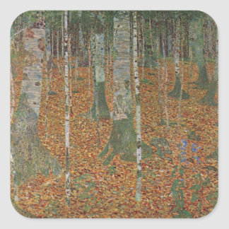 Birch Forest by Gustav Klimt, Vintage Art Nouveau Square Sticker