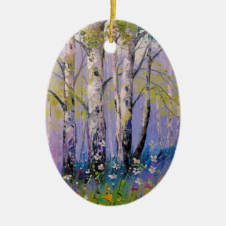 Birch grove ceramic oval decoration