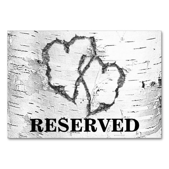 Birch Hearts Reserved Wedding Table Sign Card