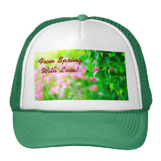 Birch leaves tulip flowers customizable cap