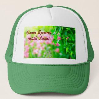 Birch leaves tulip flowers customizable trucker hat