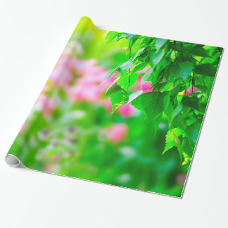 Birch leaves tulip flowers customizable wrapping paper
