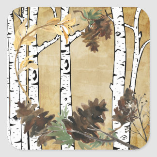 Birch Tree and Pine Cone Stickers