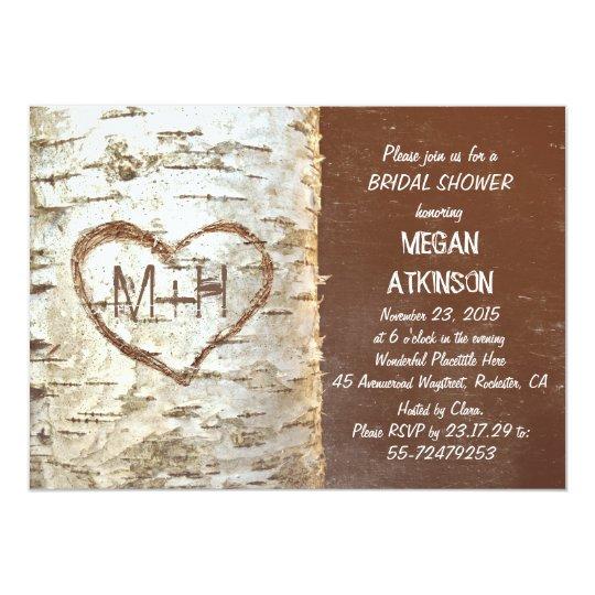 Birch tree bark heart rustic bridal shower card