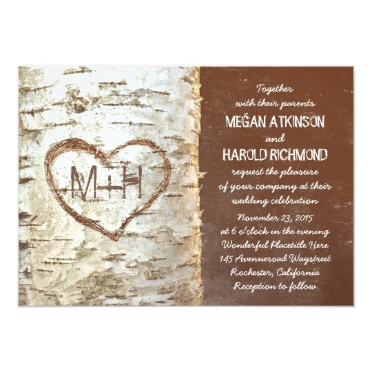Birch tree bark heart rustic wedding invitations